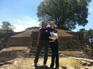Tammy and her daughter at the Mayan ruins at Iximche